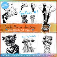 1- SAFARI_#1- Art Image Pack by Michelle Grant desiGns 5x B&W & Art Images in A4, A5 & A6 sizes & 1x A4 Quote Sheet - 8x Digital Jpeg files @300 dpi