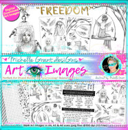 FREEDOM - Art Image Pack by Michelle Grant desiGns B&W & Art Images in A4, A5 & A6 sizes & 1x A4 Quote & Pattern  Sheet - 10x Digital Jpeg files @300 dpi   FULL PACK - (10 Files) HALF PACK A&B - (6 Files)