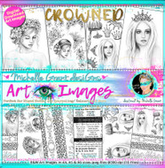 CROWNED - Art Image Pack by Michelle Grant B&W & Art Images in A4, A5 & A6 sizes & 1x A4 Quote & Pattern  Sheet - 10x Digital Jpeg files @300 dpi   FULL PACK - (10 Files) HALF PACK A&B - (6 Files)