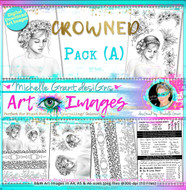 CROWNED - Art Image Pack by Michelle Grant B&W & Art Images in A4, A5 & A6 sizes & 1x A4 Quote & Pattern  Sheet - 10x Digital Jpeg files @300 dpi   HALF PACK A&B - (6 Files)