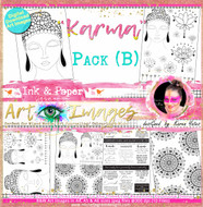 KARMA - Art Image Pack by Karen Yates B&W & Art Images in A4, A5 & A6 sizes & 1x A4 Quote & Pattern  Sheet - 10x Digital Jpeg files @300 dpi    HALF PACK A&B - (6 Files)