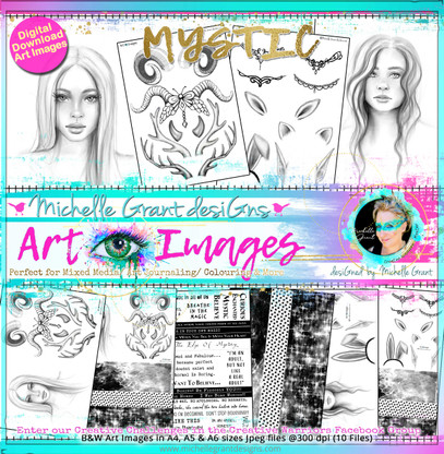 """""""MYSTIC"""" Art Image Pack designed by Michelle Grant  FULL COLLECTION PACK (10 files) PACK A  & Pack B (6 files)"""