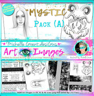 MYSTIC - Art Image Pack A by Michelle Grant B&W & Art Images in A4, A5 & A6 sizes & 1x A4 Quote & Pattern  Sheet - 10x Digital Jpeg files @300 dpi   HALF PACK A&B - (6 Files)