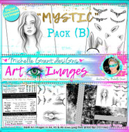 MYSTIC - Pack B- Art Image Pack by Michelle Grant B&W & Art Images in A4, A5 & A6 sizes & 1x A4 Quote & Pattern  Sheet - 10x Digital Jpeg files @300 dpi   FULL PACK - (10 Files) HALF PACK A&B - (6 Files)