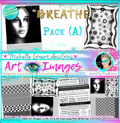 """""""BREATHE"""" Art Image Pack designed by Michelle Grant  FULL COLLECTION PACK (10 files) PACK A  & Pack B (6 files)"""