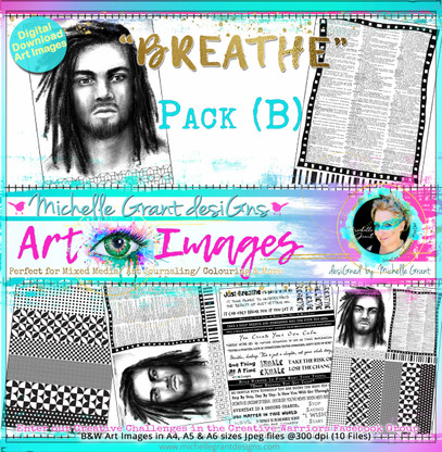 """""""BREATHE"""" PACK B - Art Image Pack designed by Michelle Grant  FULL COLLECTION PACK (10 files) PACK A  & Pack B (6 files)"""