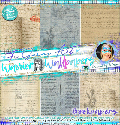 BOOKPAPER2 - Warrior Wallpaper Pack by Fi Gains Digital Mixed Media Backgrounds- A4 Digital Jpeg files @300 dpi   FULL PACK - (6 Files) HALF PACK A&B - (3 Files)