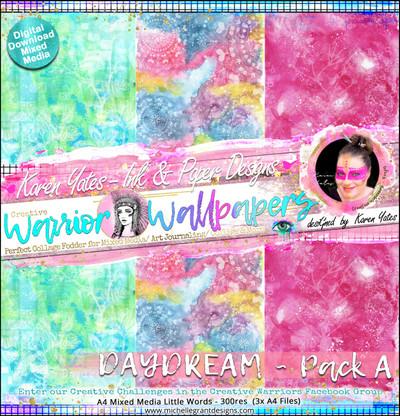 DAYDREAM - Warrior Wallpaper Pack by Karen Yates A4 Pattern Papers - 6x Digital Jpeg files @300 dpi   FULL PACK - (6 Files) HALF PACK A&B - (3 Files)