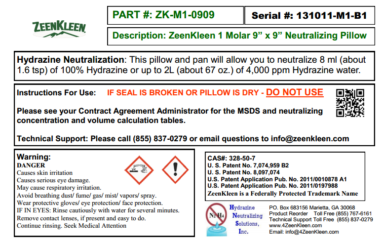 """Product Label: ZeenKleen 1 Molar 9""""x9"""" Pillow in Pan"""