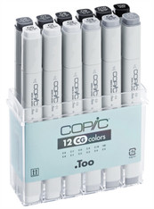 COPIC CLASSIC MARKER - 12 PEN - COOL GREY SET