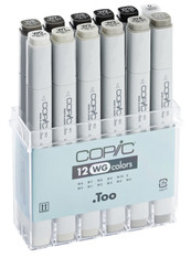COPIC CLASSIC MARKER - 12 PEN - WARM GREY SET