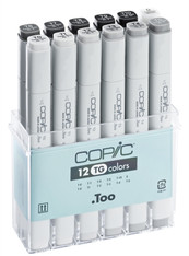 COPIC CLASSIC MARKER - 12 PEN - TONER GREY SET