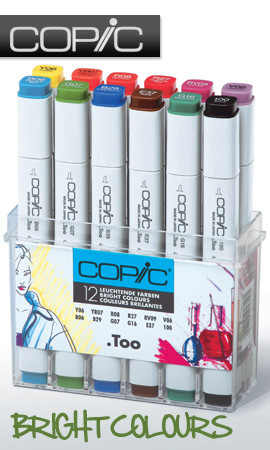 COPIC .TOO PRO MARKER - 12 PEN - BRIGHT COLOURS SET