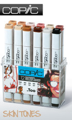 COPIC .TOO PRO MARKER - 12 PEN - SKIN TONES COLOURS SET