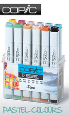 COPIC .TOO PRO MARKER - 12 PEN - PASTEL COLOURS SET
