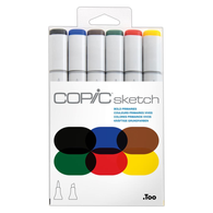 Copic Sketch Marker Set of 6 - Bold Primaries