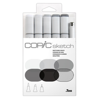 Copic Sketch Marker Set of 6 - Sketching Grays