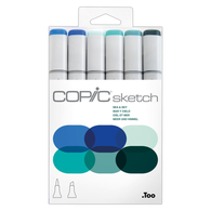 Copic Sketch Marker Set of 6 - Sea and Sky