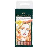 Faber Castell Pitt Artist Pen Brush Wallet of 6 Light Skin Tones