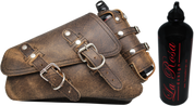 04-UP Harley-Davidson Sportster Nightster 1200   Forty-Eight 72 Roadster Left Side Saddle Bag Swingarm Bag Rustic Brown with Spare Fuel Bottle