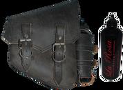 All Softail Models Vintage Right Side Solo Saddle Bag Rustic Black Spare Fuel Bottle Holder