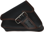 04-UP Harley-Davidson Sportster Left Side Saddle Bag LA FONDINA - Black (Orange Thread)