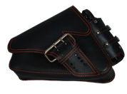 04-UP Harley-Davidson Sportster Left Side Saddle Bag LA FONDINA - Black (Orange Thread) with Spare Fuel Bottle