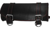 Front Forks Tool Bag Black Leather w/ Red Thread
