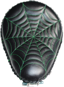 "Harley Chopper Bobber 13"" baSICK Solo Seat Black Green Spider Web Tuck"