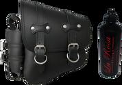 All Softail Models Left Side claSICK Solo Saddle Bag Black Leather with Fuel Bottle Holder