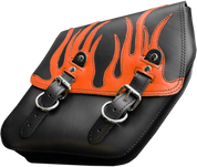 04-UP Harley-Davidson Dyna Wide Glide FXR Right Side Solo Saddle Bag Black Plain Orange Leather Flame Overlay