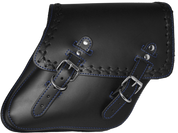04-UP Harley-Davidson Dyna Wide Glide FXR Right Side Solo Saddle Bag Black Cross Laced Blue Thread