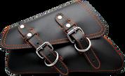 04-UP Harley-Davidson Sportster  Nightster 1200   Forty-Eight 72    Roadster Left Side Saddle Bag Swingarm Bag Black w/ Orange Thread