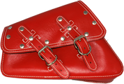 04-UP Harley-Davidson Sportster  Nightster 1200   Forty-Eight 72    Roadster Left Side Saddle Bag Swingarm Bag - Red Leather White Thread & Rivets