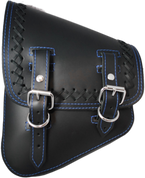 La Rosa Harley-Davidson All Softail Models Left Side Solo Saddle Bag  Swingarm Bag Black Cross Laced Blue Thread