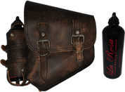 La Rosa Harley-Davidson All Softail Models Left Side Solo Saddle Bag   Swingarm Bag Rustic Brown w/ Spare Fuel Bottle Holder