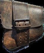 La Rosa Harley-Davidson All Softail Models Left Side Solo Saddle Bag   Swingarm Bag Rustic Brown Front Wide Strap