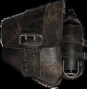 La Rosa Harley-Davidson All Softail Models Right Side Solo Saddle Bag   Swingarm Bag Rustic Black Front Wide Strap with Fuel Bottle Holder
