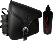 La Rosa Harley-Davidson All Harley-Davidson Softail and Rigid frames Left Side Saddle Bag  Swingarm Bag Black w/ Black Alligator Belt & Spare Fuel Bottle