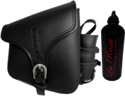 La Rosa Harley-Davidson All Harley-Davidson Softail and Rigid frames Right Side Saddle Bag  Swingarm Bag Black w/ Black Alligator Belt & Spare Fuel Bottle