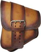 La Rosa Harley-Davidson All Softail Models Left Side Saddle Bag  Swingarm Bag Antique Tan Front Wide Strap