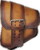 La Rosa Harley-Davidson All Softail Models Left Side Saddle Bag  Swingarm Bag Antique Tan Front Wide Strap