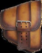 La Rosa Harley-Davidson All Softail Models Right Side Saddle Bag Swingarm Bag Antique Tan Front Wide Strap