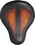 """16"""" Classic Solo Seat Black Leather with Antique Shedron Alligator Inlay"""