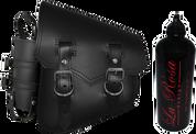 All Softail Models Vintage Left Side Solo Saddle Bag Black Spare Fuel Bottle Holder
