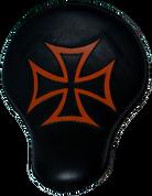 "16"" Cross Bones Solo Seat Black / Orange Inlay Cross"