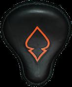 "16"" Cross Bones Solo Seat Black / Orange Inlay Spade"