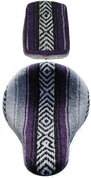 "16"" Cross Bones Solo Seat & Passenger Pad Purple / Gray Serape Cloth"