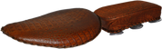 """Harley Chopper Bobber 13"""" baSICK Solo Seat Brown Alligator with Pillion Pad"""