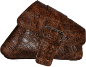 04-UP Harley-Davidson Sportster Nightster 1200   Forty-Eight 72 XL Right Side Saddle Bag Swingarm Bag Rustic Brown Alligator Single Wide Strap